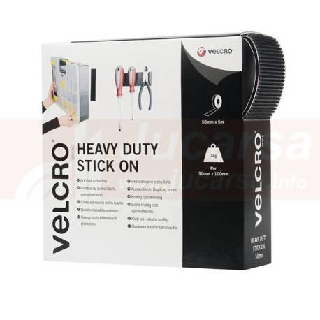 VELCRO HEAVY DUTY STICK ON 5m. (5L+5H)Negro 50mm.