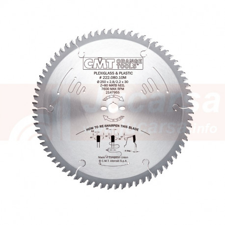 SIERRA CIRCULAR PARA PLEXIGLAS Y PLASTICO D300X2.8X30 Z96 MATB