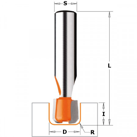 FRESA R.CONVEXO P/CORIAN HW S 12 D 15.87x12.7 R 3.17