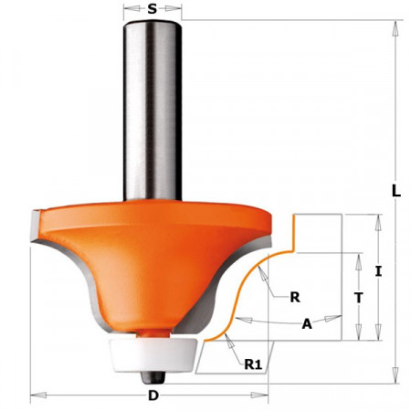 FRESA P/BISELAR R/CÓNC. C/ROD. P/CORIAN HW S 12 D54 A15° R12.7-6.35