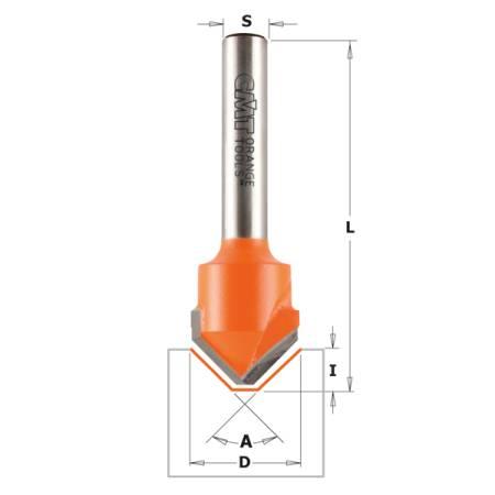 FRESA P/RANURAS EN V (90°) HW S 8 D18X7,4X60 (ALUCOBOND)
