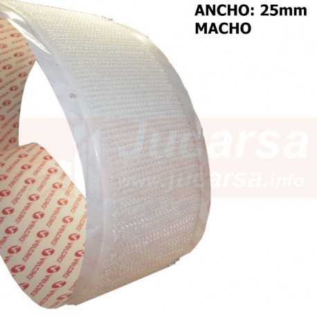 MTS.ADHE.VELCRO 25mm BLANCO-MACHO